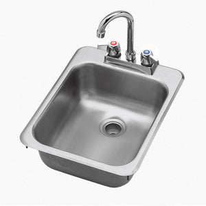 "Stainless Steel Drop-In 1 Compartment Hand Sink 11"" x 17"" - AT Faucet"