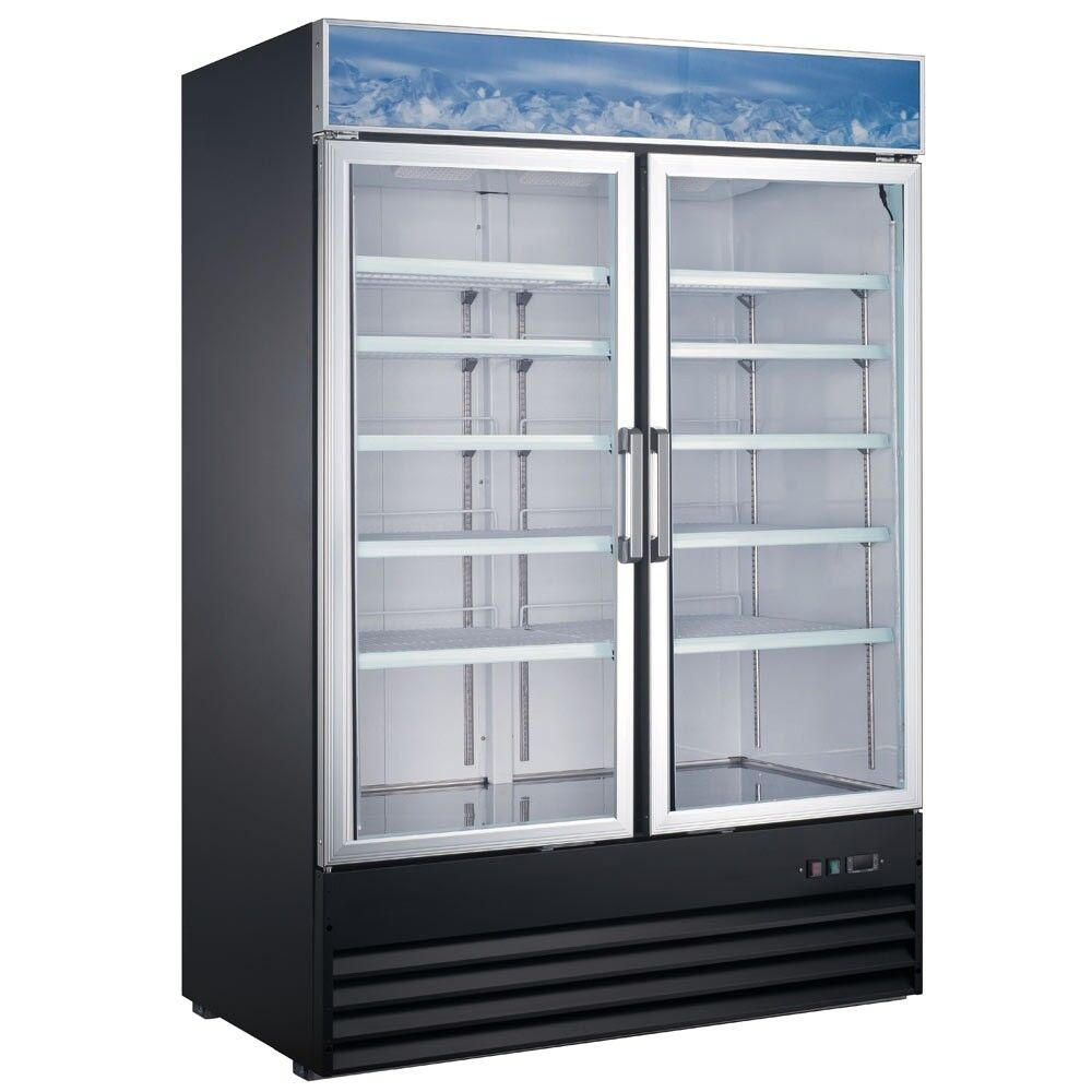 "Commercial 2 Door Glass Reach-In Refrigerator Merchandiser 48"" with 29 Cu.Ft. Storage - AT Faucet"