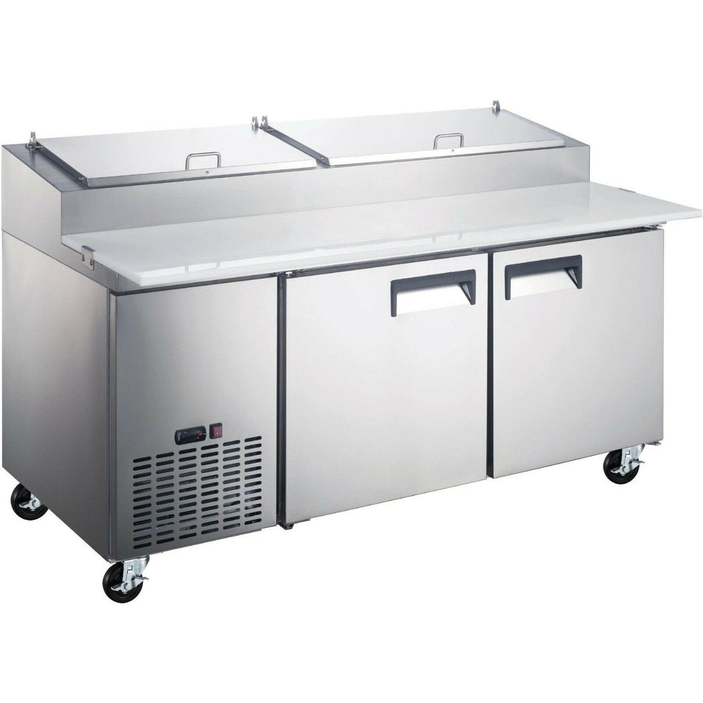 "Commercial Kitchen 2 Door Refrigerated Pizza Prep Table 71"" - AT Faucet"