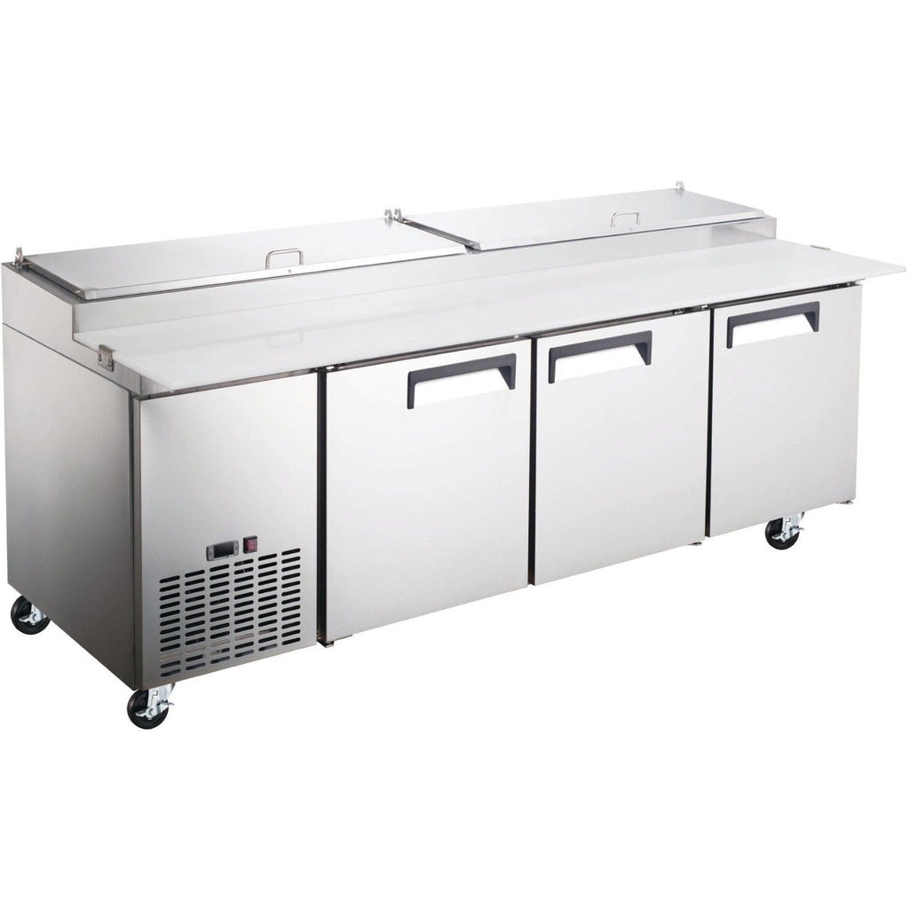 "Commercial Kitchen 3 Door Refrigerated Pizza Prep Table 92"" - AT Faucet"
