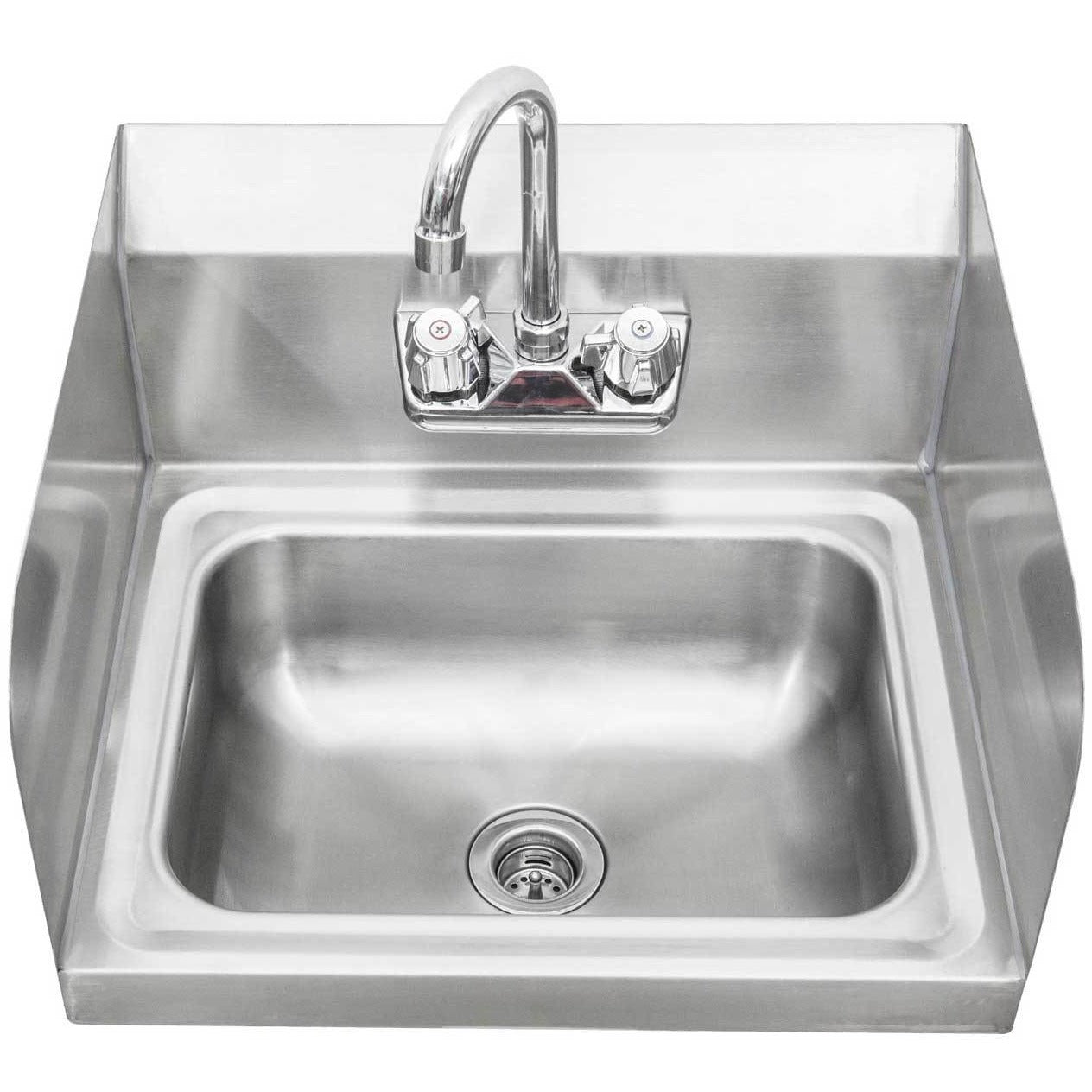 Stainless Steel Wall Mount Hand Sink With Faucet U0026 Drain U0026 Side Splashu2013 AT  Faucet