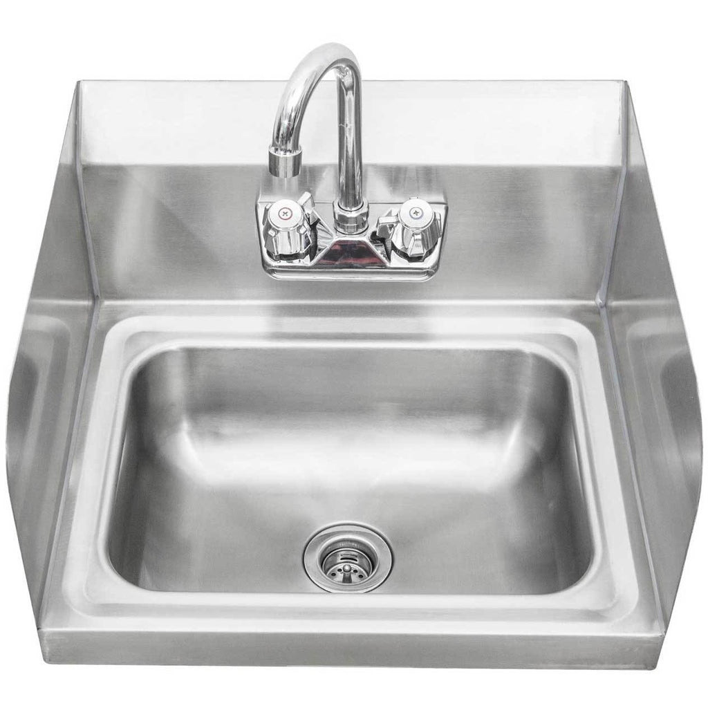 Stainless Steel Wall-Mount Hand Sink with Faucet & Drain & Side Splashes - AT Faucet