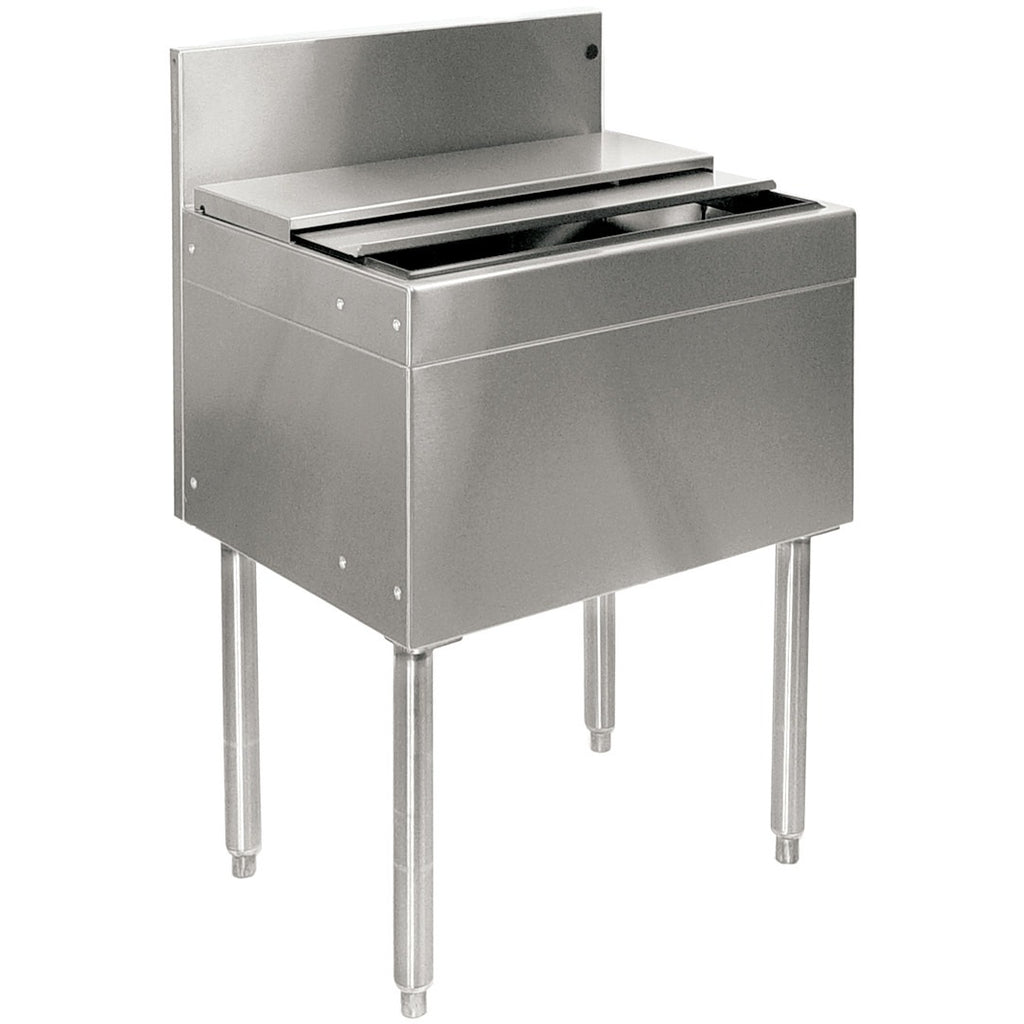 "Glastender Stainless Steel Commercial Back Bar Ice Bin 24"" with Lid - AT Faucet"