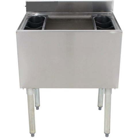"Stainless Steel Insulated Underbar Ice Bin 24"" x 12"" Deep with 7 Circuit Cold Plate - AT Faucet"