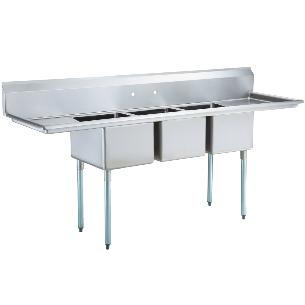 "Stainless Steel Heavy Duty 3 Compartment Individual Bowl Sink 94"" x 24"" with 2 Drainboards - AT Faucet"