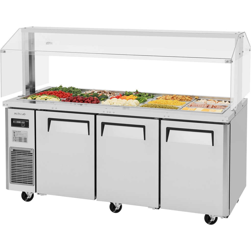 "Turbo Air Refrigerated Buffet Display Table with 3 Doors 71"" - AT Faucet"