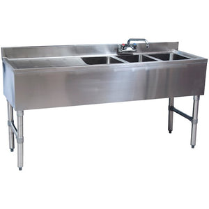 "Stainless Steel 3 Compartment Underbar Sink 48"" x 18"" with Left Drainboard - AT Faucet"