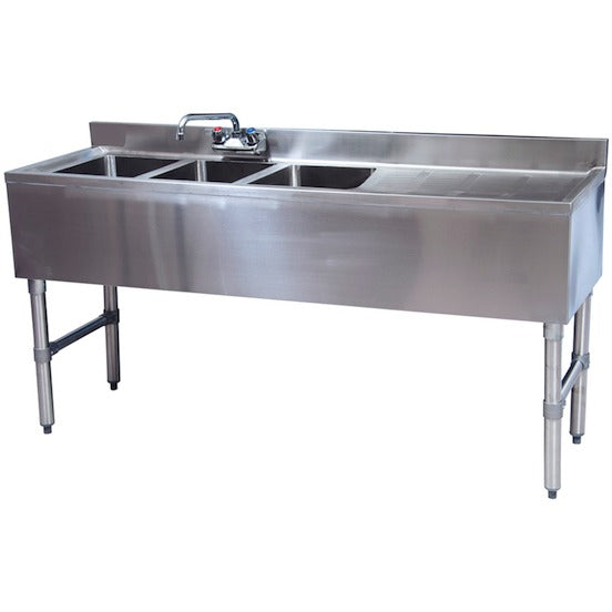 "Stainless Steel 3 Compartment Underbar Sink 48"" x 18"" with Right Drainboard - AT Faucet"