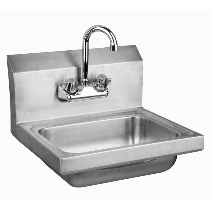Stainless Steel Wall-Mount Hand Sink with Faucet & Drain - AT Faucet