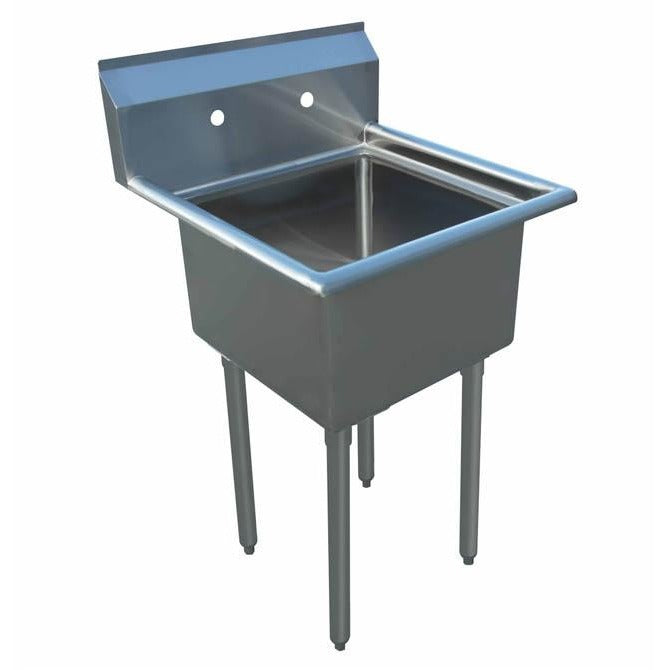 "Stainless Steel 1 Compartment Sink 23"" x 27"" No Drainboard - AT Faucet"
