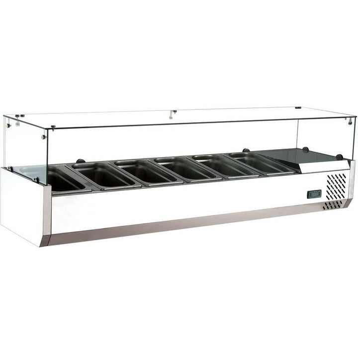 Commercial Refrigerated Countertop Salad Bar Topping Rail with Sneezeguard 59""