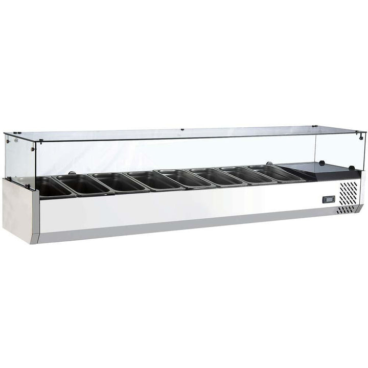 "Commercial Refrigerated Countertop Salad Bar Topping Rail with Sneezeguard 70"" - AT Faucet"