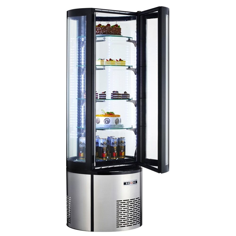 "Commercial Refrigerated Curved Glass Vertical Cake Display Case 69"" - AT Faucet"