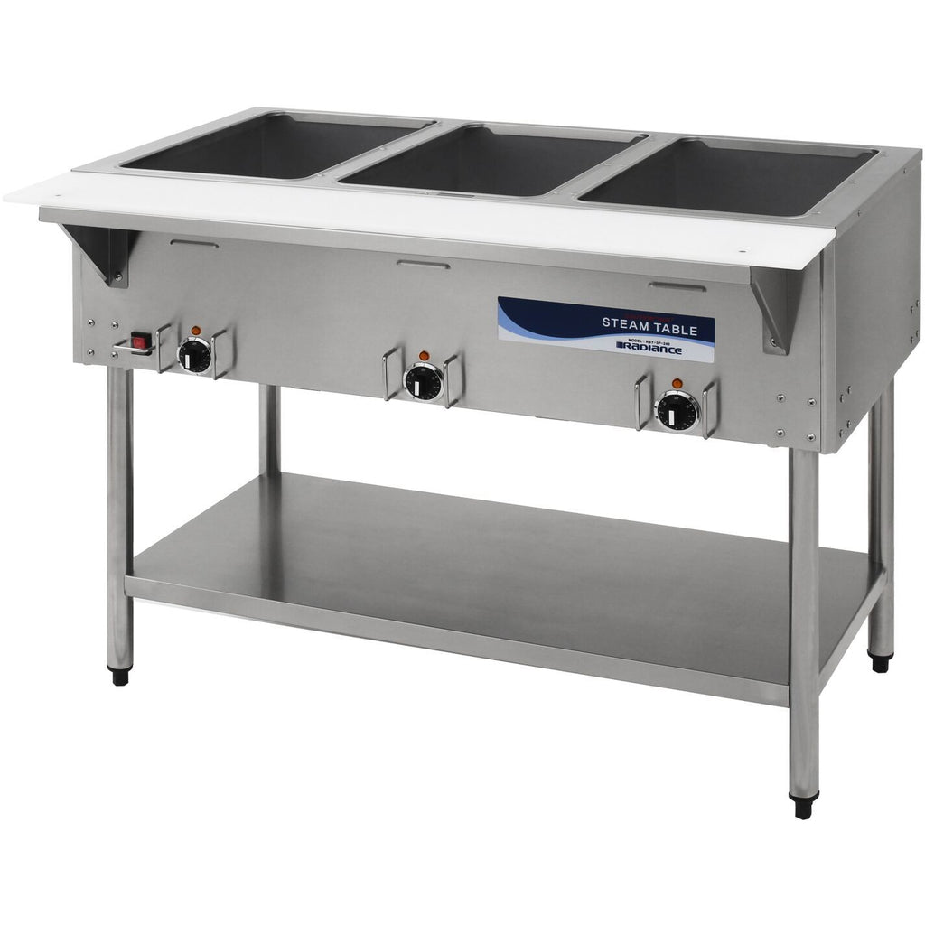 "Radiance Commercial Kitchen 3 Well Electric Steam Table 45"" - AT Faucet"