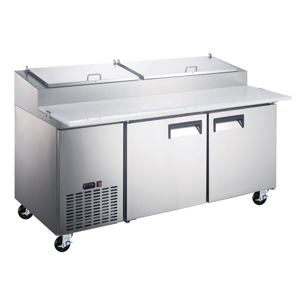 "Commercial 2 Door Refrigerated Pizza Prep Table 71"" with 9 Pans - AT Faucet"