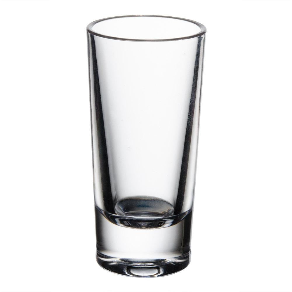 Commercial 1.5 oz. Polycarbonate Shot Glass Clear with Heavy Base Pack of 24 - AT Faucet