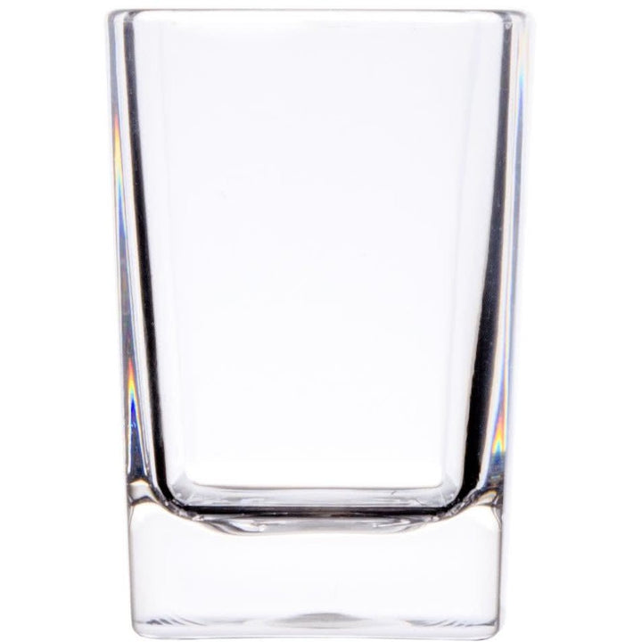 Commercial 2.5 oz. Polycarbonate Square Shot Glass Clear with Heavy Base Pack of 24 - AT Faucet