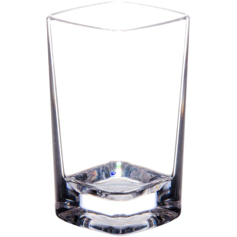 Commercial 3 oz. Polycarbonate Square Shot Glass Clear with Heavy Base Pack of 24 - AT Faucet