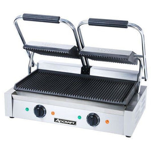 "Commercial Kitchen Countertop Double Ribbed Panini Sandwich Grill 21"" - AT Faucet"