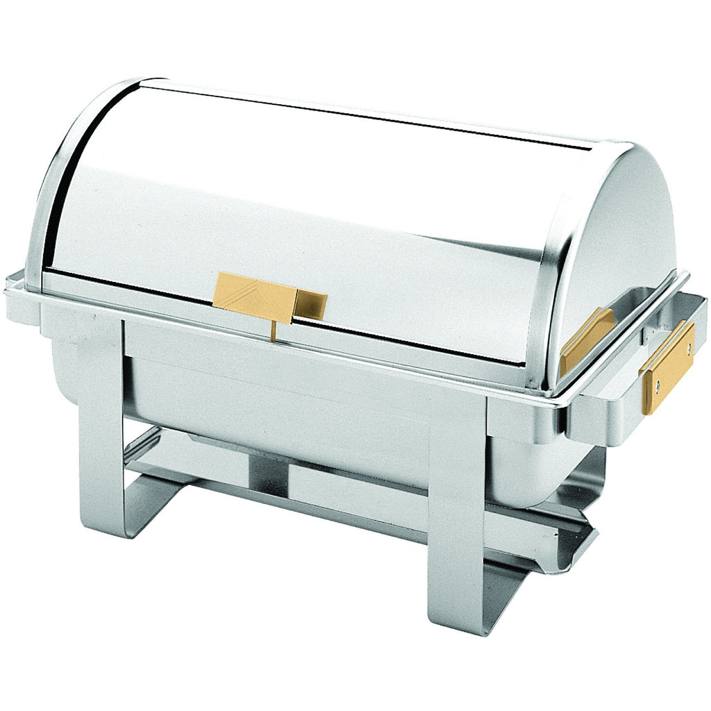 Commercial Stainless Steel 8 Qt. Full Size Golden Handle Roll Top Chafer - AT Faucet