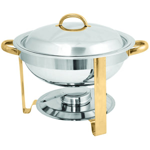 Commercial Stainless Steel 4 Qt. Gold Accented Round Chafer - AT Faucet
