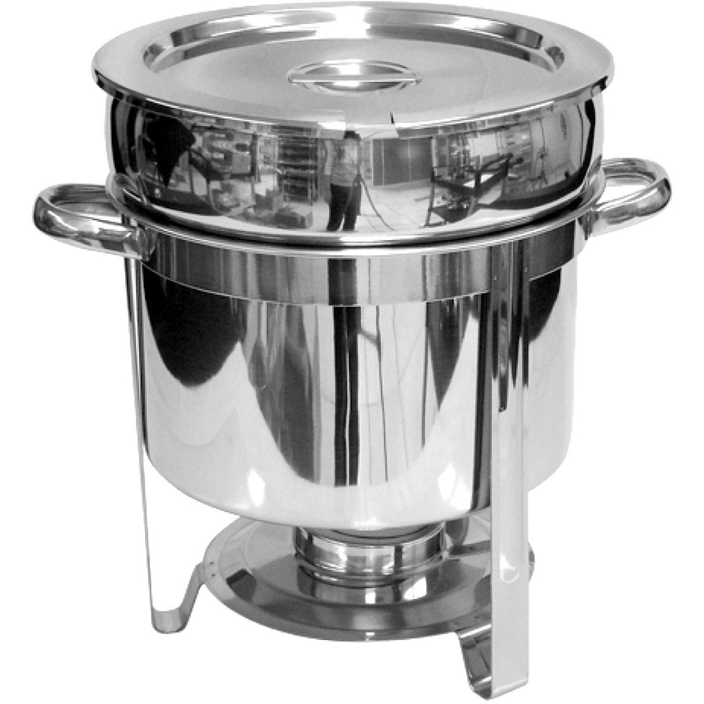 Commercial Stainless Steel 11 Qt. Round Marmite Chafer - AT Faucet