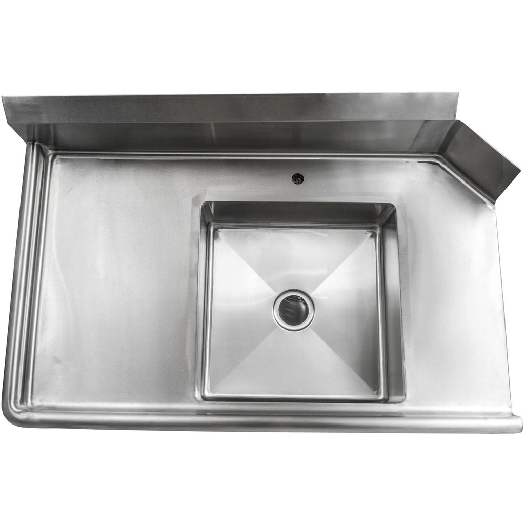 "Stainless Steel Commercial Kitchen Soiled Left Dish Table 60"" - AT Faucet"