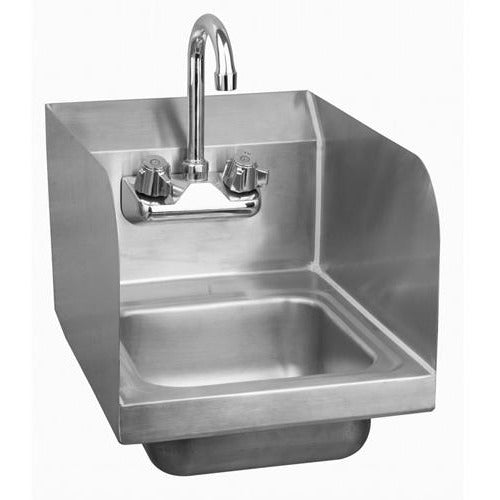 Stainless Steel Space Saver Wall-Mount Hand Sink with Faucet & Drain & Side Splashes - AT Faucet