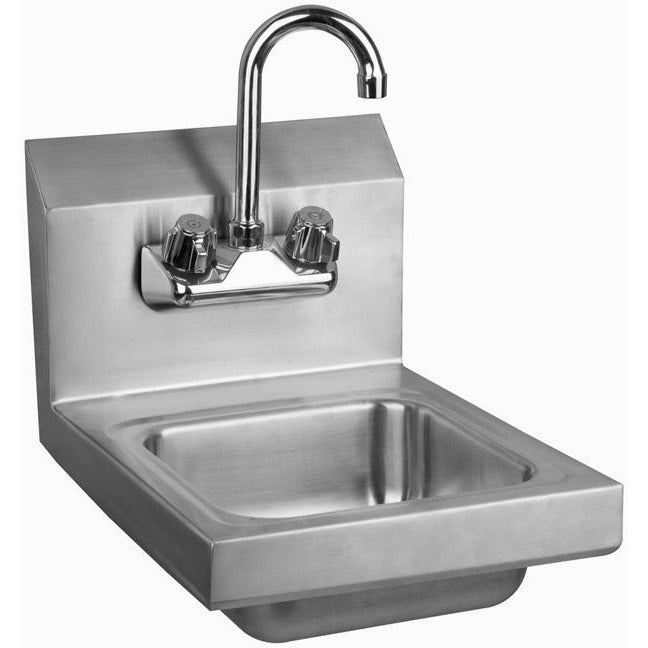 Stainless Steel Space Saver Wall-Mount Hand Sink with Faucet & Drain - AT Faucet
