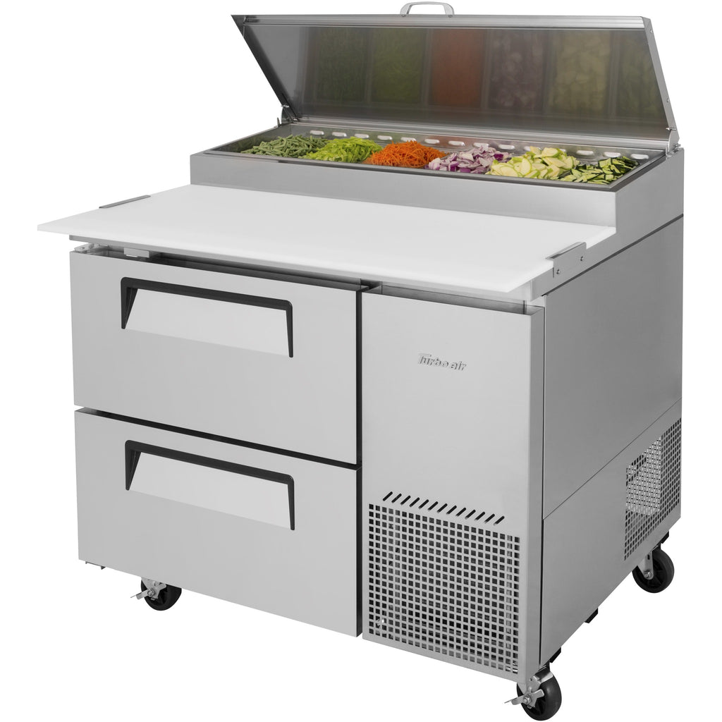 "Turbo Air Super Deluxe Pizza Prep Table with 2 Drawers 44"" - AT Faucet"
