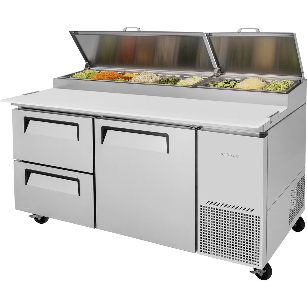 "Turbo Air Super Deluxe Pizza Prep Table with 2 Drawers & 1 Door 67"" - AT Faucet"