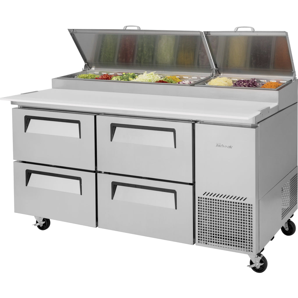 "Turbo Air Super Deluxe Pizza Prep Table with 4 Drawers 67"" - AT Faucet"