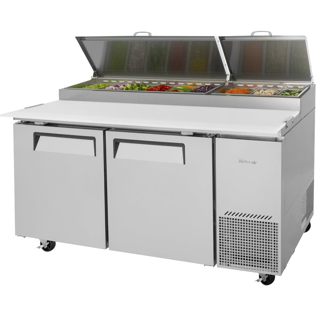 "Turbo Air Super Deluxe Pizza Prep Table with 2 Doors 67"" - AT Faucet"