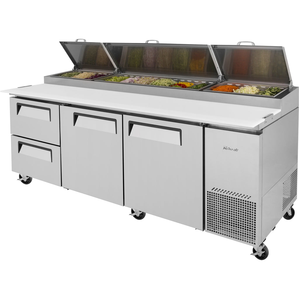 "Turbo Air Super Deluxe Pizza Prep Table with 2 Drawers & 2 Doors 94"" - AT Faucet"
