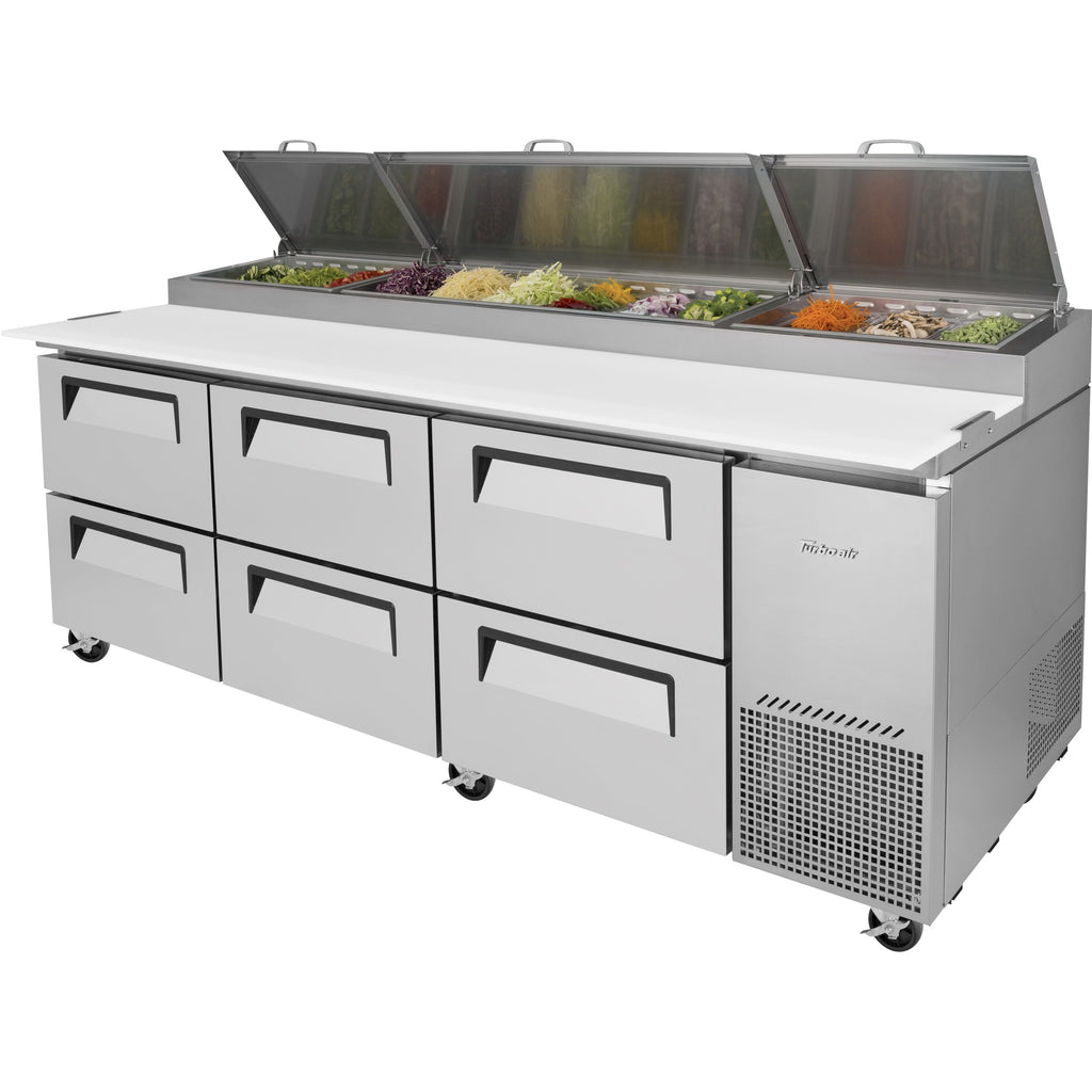 "Turbo Air Super Deluxe Pizza Prep Table with 6 Drawers 94"" - AT Faucet"
