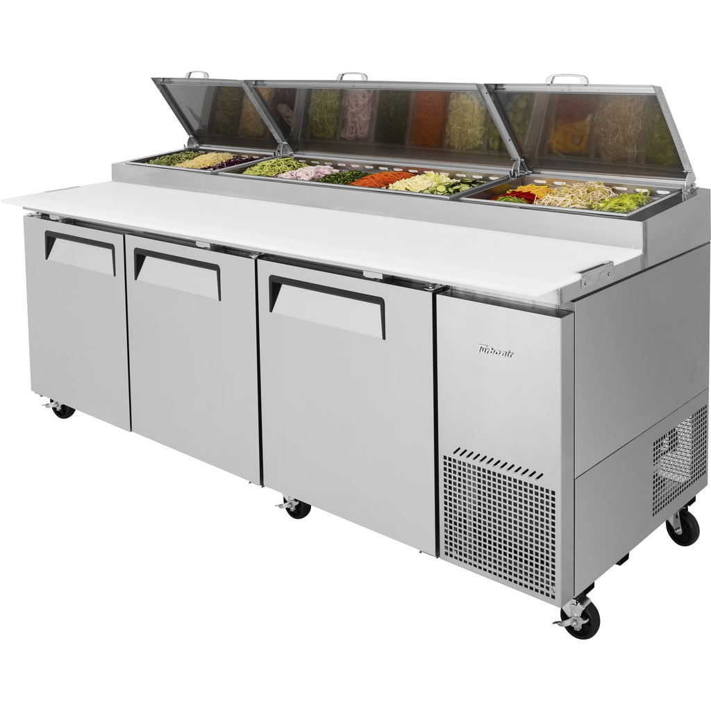 "Turbo Air Super Deluxe Pizza Prep Table with 3 Doors 94"" - AT Faucet"