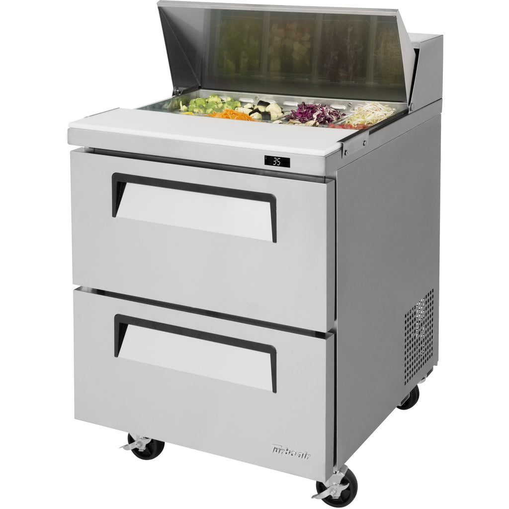 "Turbo Air Commercial Refrigerated Sandwich / Salad Prep Table 28"" with 2 Drawers - AT Faucet"