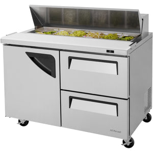 "Turbo Air Super Deluxe Refrigerated Sandwich / Salad Prep Table 48"" with 2 Drawers & 1 Door - AT Faucet"