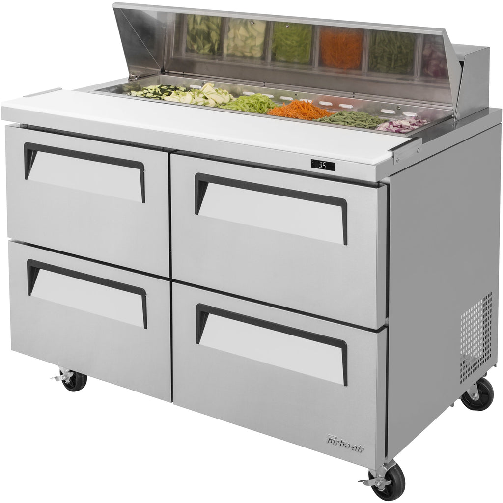 "Turbo Air Super Deluxe Refrigerated Sandwich / Salad Prep Table 48"" with 4 Drawers - AT Faucet"