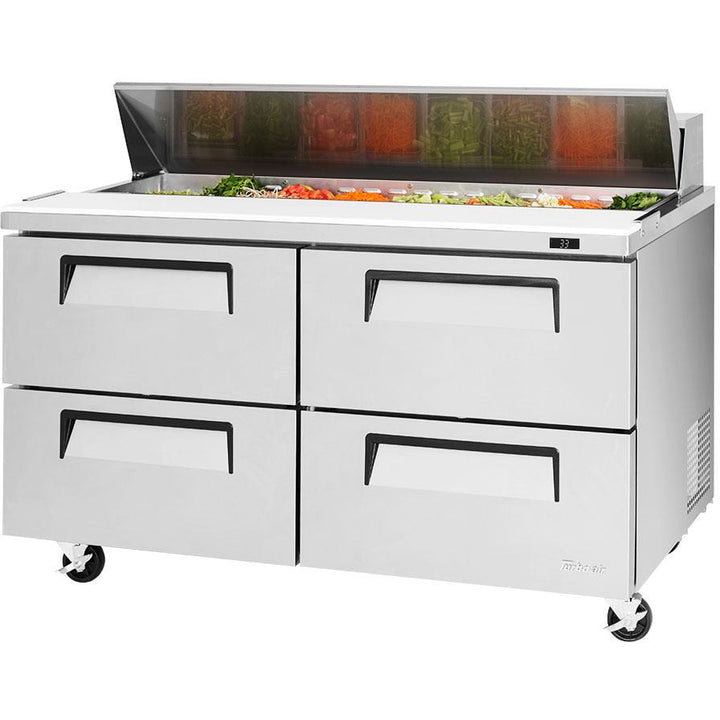 "Turbo Air Super Deluxe Refrigerated Sandwich / Salad Prep Table 60"" with 4 Drawers - AT Faucet"