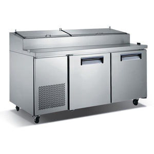 "Commercial Kitchen Refrigerated Pizza Prep Table 71"" with 2 Doors - AT Faucet"