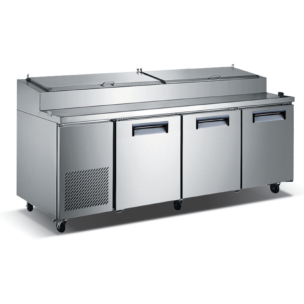 "Commercial Kitchen Refrigerated Pizza Prep Table 92"" with 3 Doors - AT Faucet"