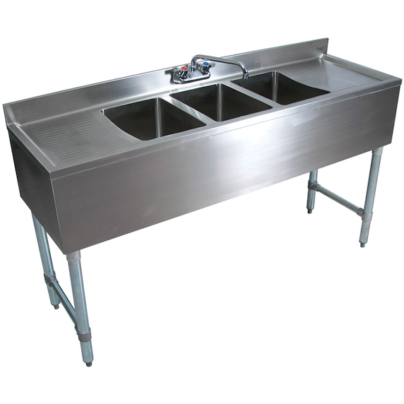 "Stainless Steel 3 Compartment Underbar Sink 72"" with 2 Drainboards - AT Faucet"