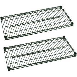 "Commercial Heavy Duty Walk-In Box Green Epoxy Wire Shelves 24"" x 60"" (Pack of 2) - AT Faucet"