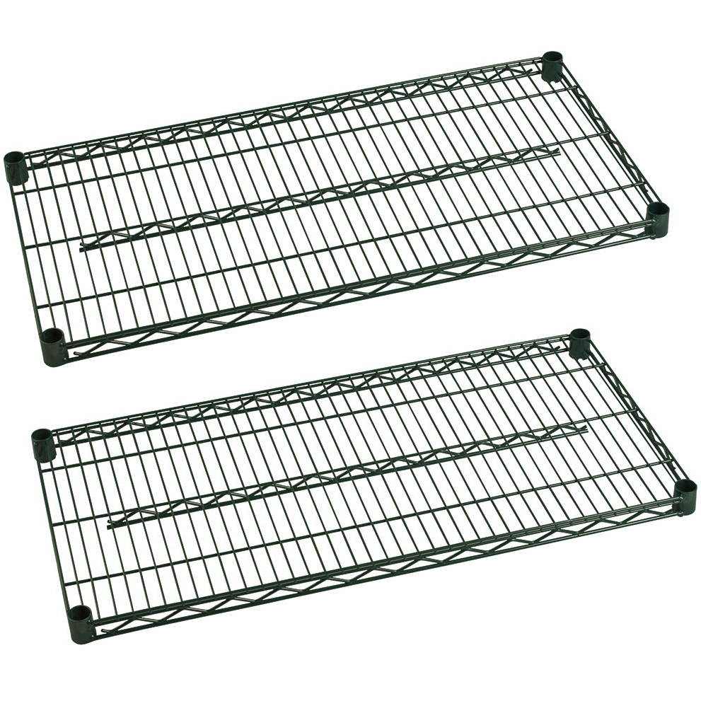"Commercial Heavy Duty Walk-In Box Green Epoxy Wire Shelves 14"" x 60"" (Pack of 2) - AT Faucet"