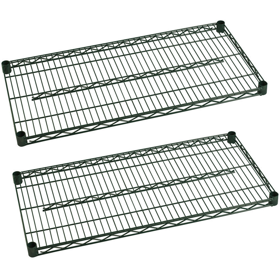 "Commercial Heavy Duty Walk-In Box Green Epoxy Wire Shelves 14"" x 48"" (Pack of 2) - AT Faucet"
