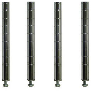 "Commercial Kitchen Heavy Duty Chrome Posts for Shelving 86"" (Pack of 4) - AT Faucet"