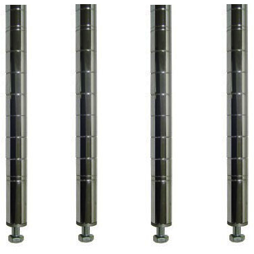 "Commercial Kitchen Heavy Duty Chrome Posts for Shelving 74"" (Pack of 4) - AT Faucet"