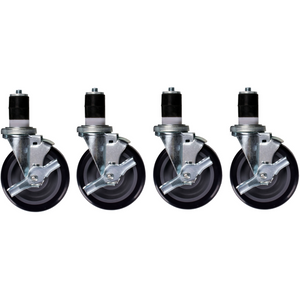 "Stainless Steel Work Prep Table Stem Casters 5"" with Brake Pack of 4 - AT Faucet"