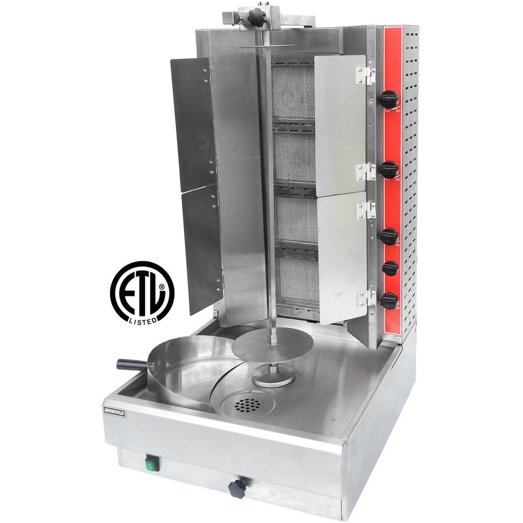 Commercial Kitchen Heavy Duty Vertical Broiler Gyro Machine with Flaps Natural Gas - AT Faucet